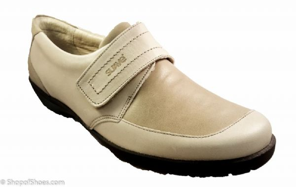 Jenny Ladies beige soft leather velcro shoe  E - EE fit